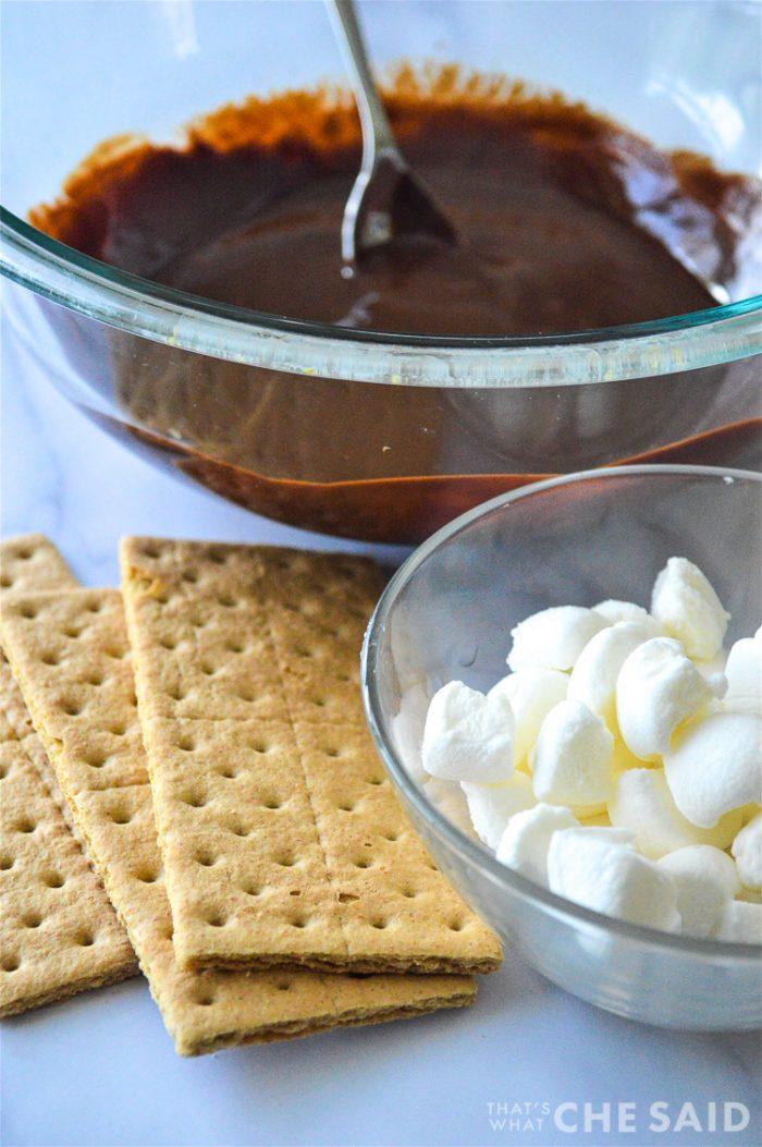 Ingredients, chocolate mixture, graham crackers marshmallows