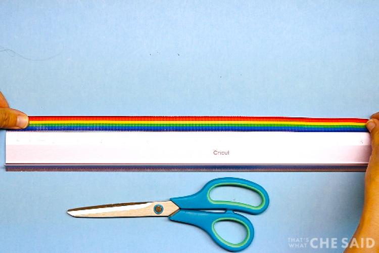 "Ruler showing to cut Ribbon 15"""