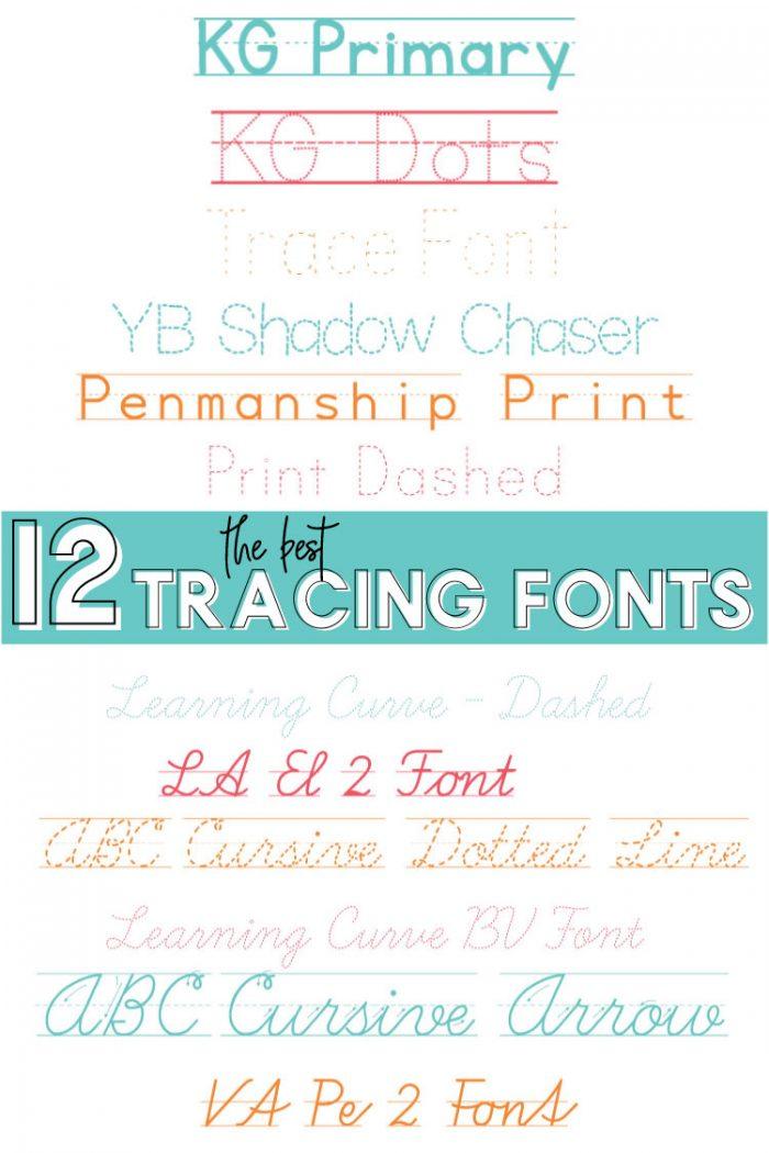 Long Image with both Penmanship & cursive Tracing font names