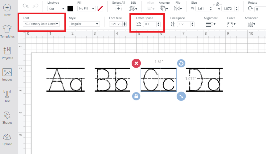 Cricut Design Space Screenshot with Font and Letter Spacing highlighted