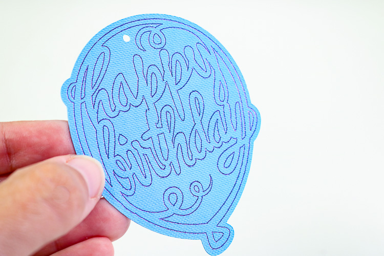 Blue Cardstock Gift Tag with Purple Foiled Happy birthday design
