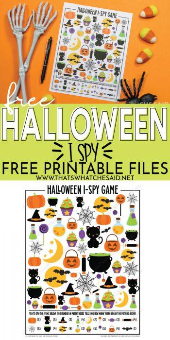 printed halloween i-spy on top and image of digital version of printable on the bottom - pinterest pin
