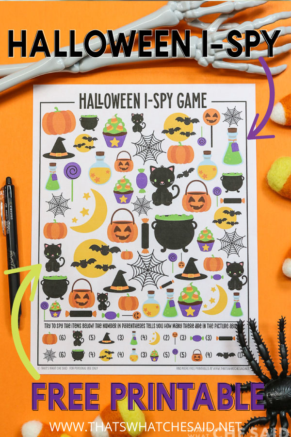 Vertical Shot of Halloween Ispy pritnable with added wording for Pinterest.