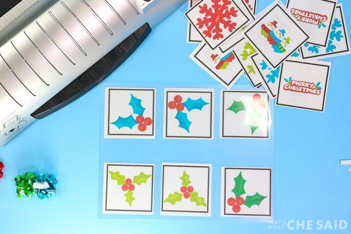 Inserting matching cards into laminating sheet