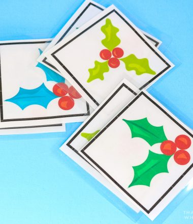 Cut and laminated memory matching cards