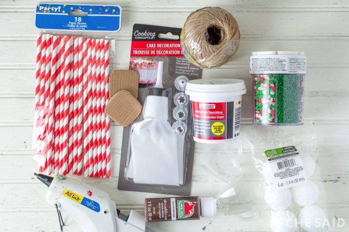 Supplies for making dollar store hot chocolate ornament