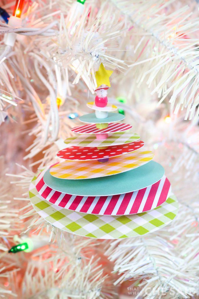Paper Christmas Tree Ornament hanging on white christmas tree