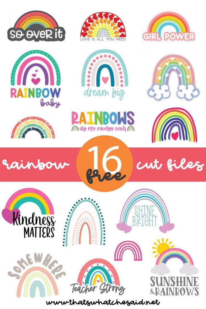 Collage of 16 Free Rainbow SVG files
