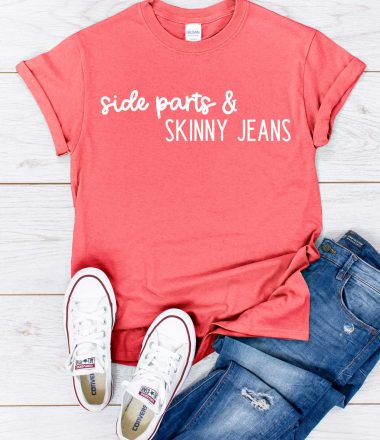 Jeans, Converse, Coral Shirt with Side Parts & Skinny Jeans design in iron on - featured image