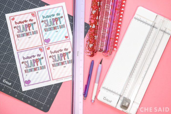 Slap bracelet Valentine Supplies on pink background