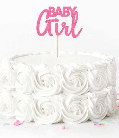 """White Rose Cake with Pink """"Baby Girl"""" Cake Topper"""
