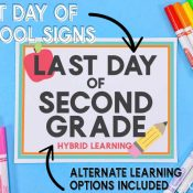 Blue Background with School Markers and Free Printable Last Day of school SIgn