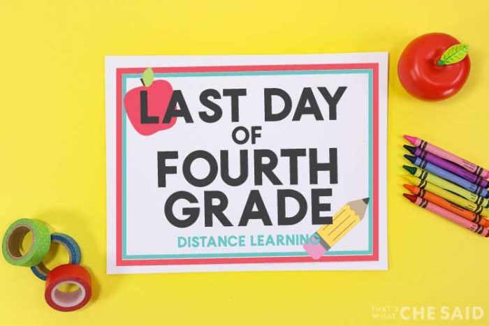 yellow background with Last Day of Distanc Learning Printable with apple, crayons and washi tape props