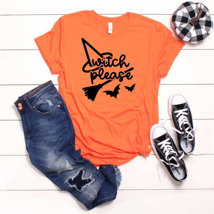 White shiplap with orange t-shirt with halloween svg and pumkin black converse and jeans as props in Square format