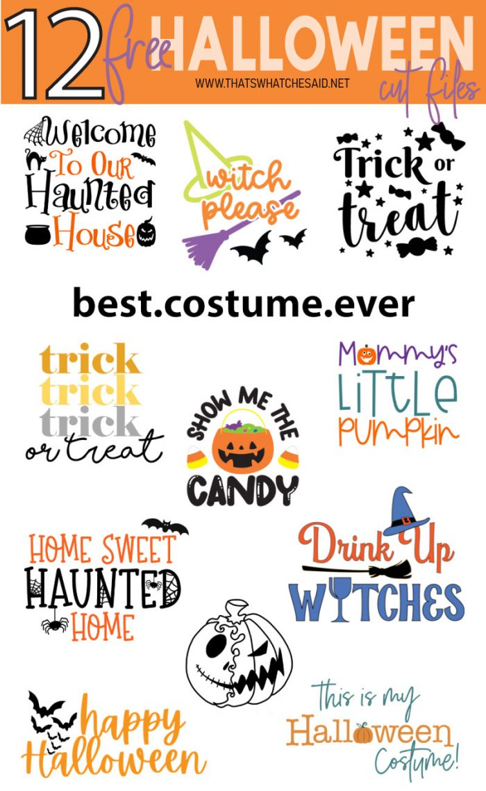 Collage of 12 Free Halloween SVG Files
