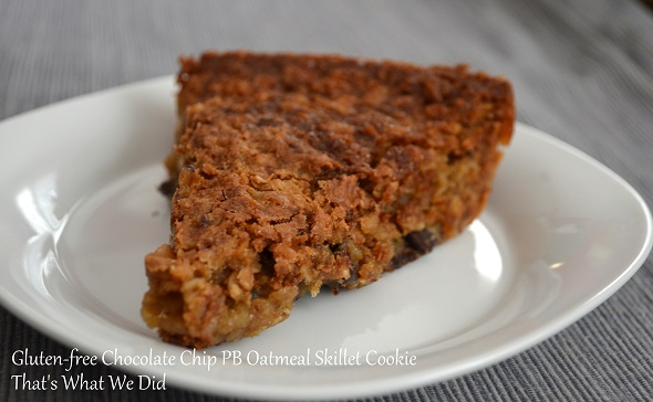 Gluten-free Chocolate Chip PB Oatmeal Skillet Cookie
