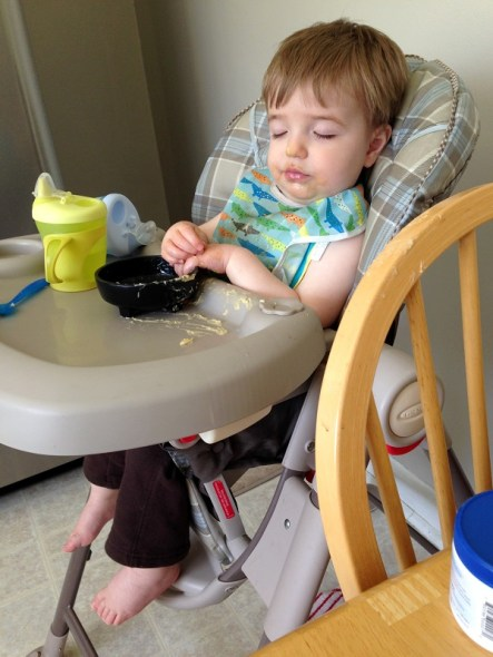 sleeping in highchair
