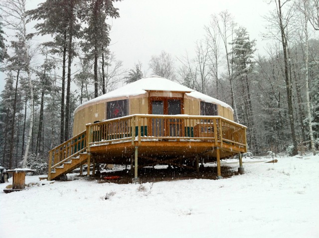 Rainier yurt in the snow.