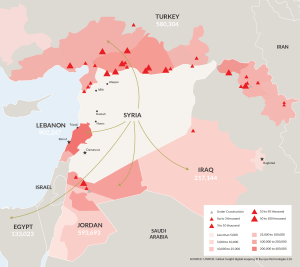 Flows of refugees out of Syria