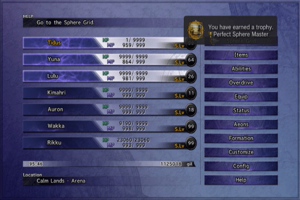 Final Fantasy X Perfect Sphere Master