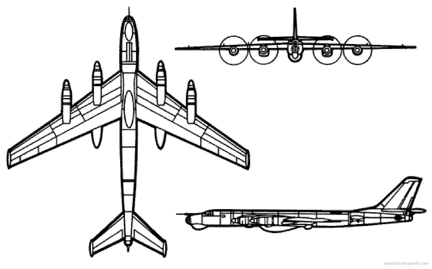 Blueprints Gt Modern Airplanes Gt Tupolev Gt Tupolev Tu 95 Bear