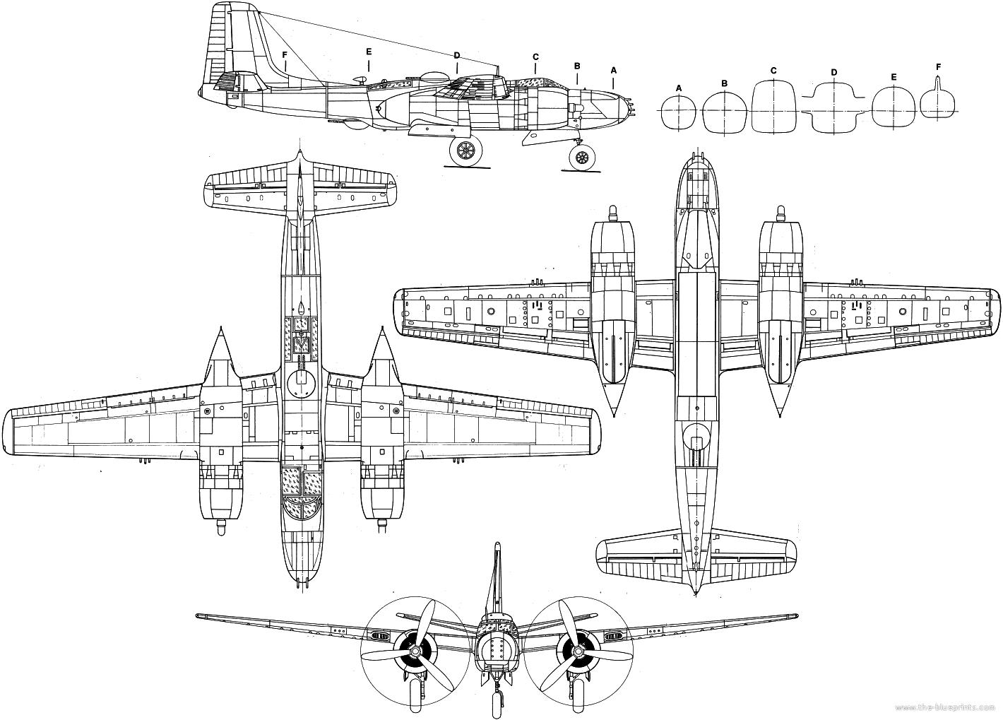 Blueprints Gt Ww2 Airplanes Gt Douglas Gt Douglas A 26 Invader