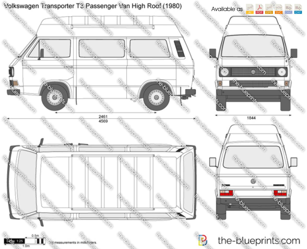 Volkswagen Transporter T3 Passenger Van High Roof Vector