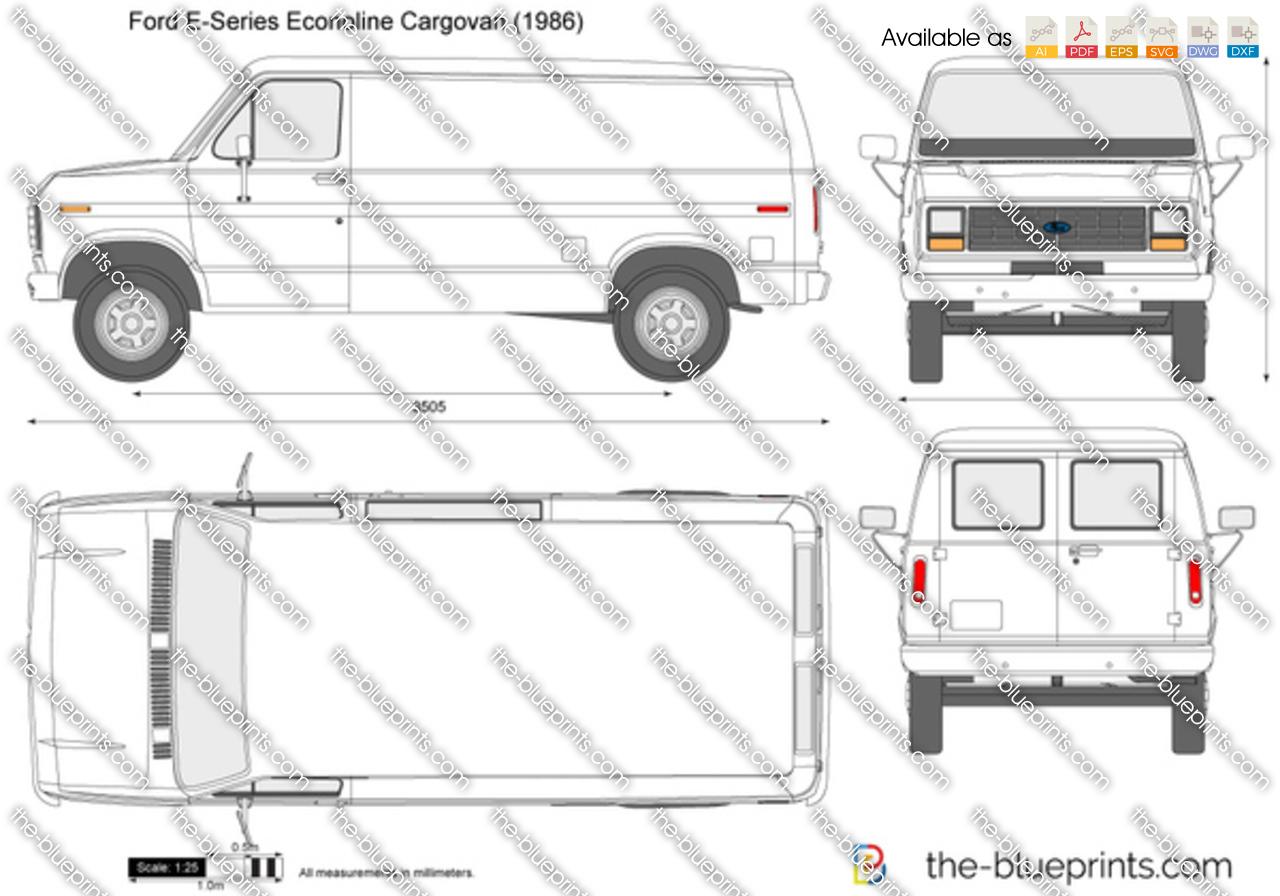 Ford E Series Econoline Cargovan Vector Drawing