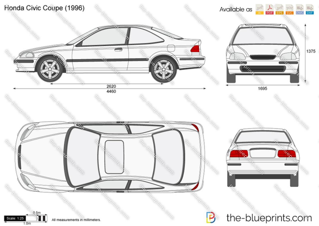Honda Civic Coupe Vector Drawing