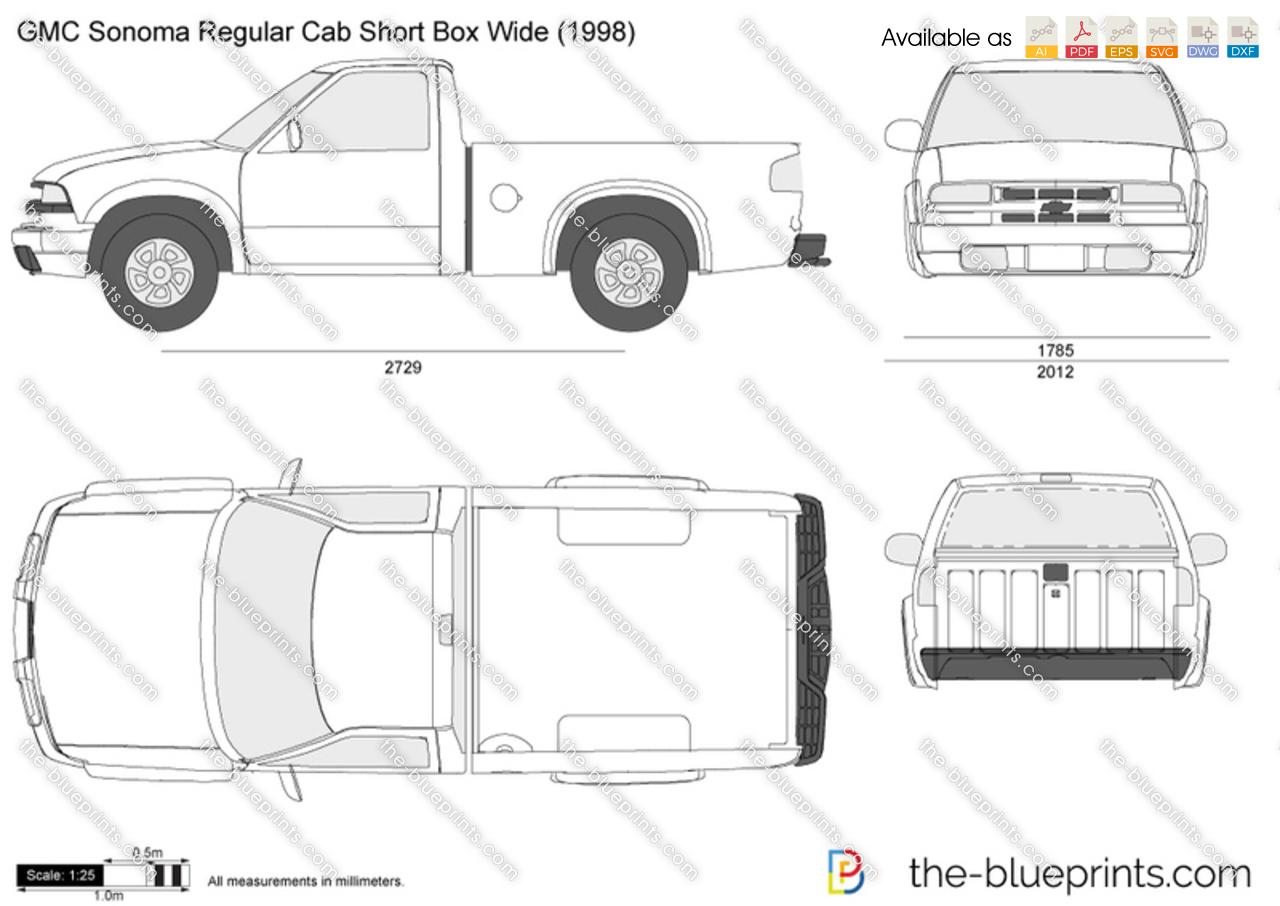 Gmc Sonoma Regular Cab Short Box Wide Vector Drawing