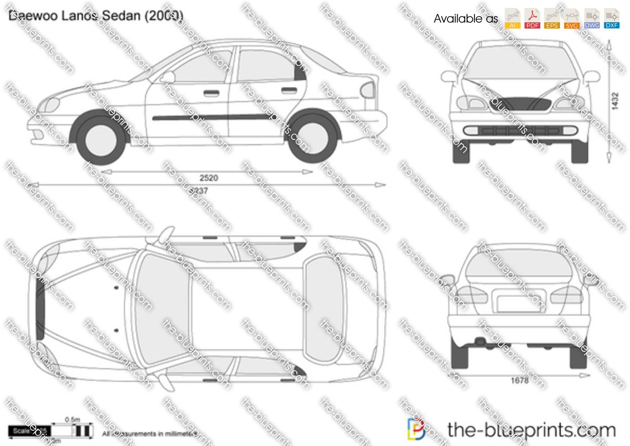 Daewoo Lanos Sedan Vector Drawing