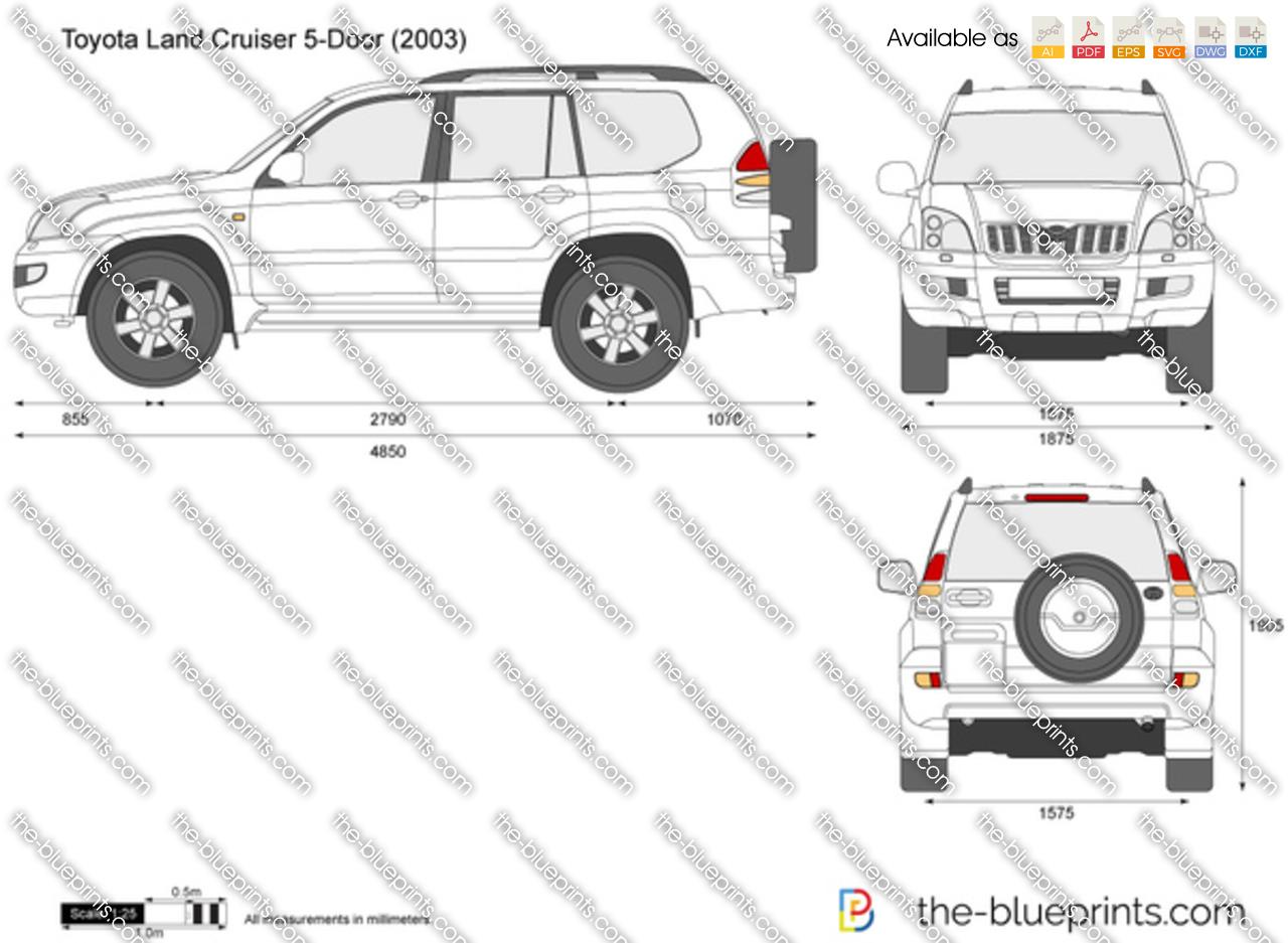 Toyota Land Cruiser 5 Door Vector Drawing