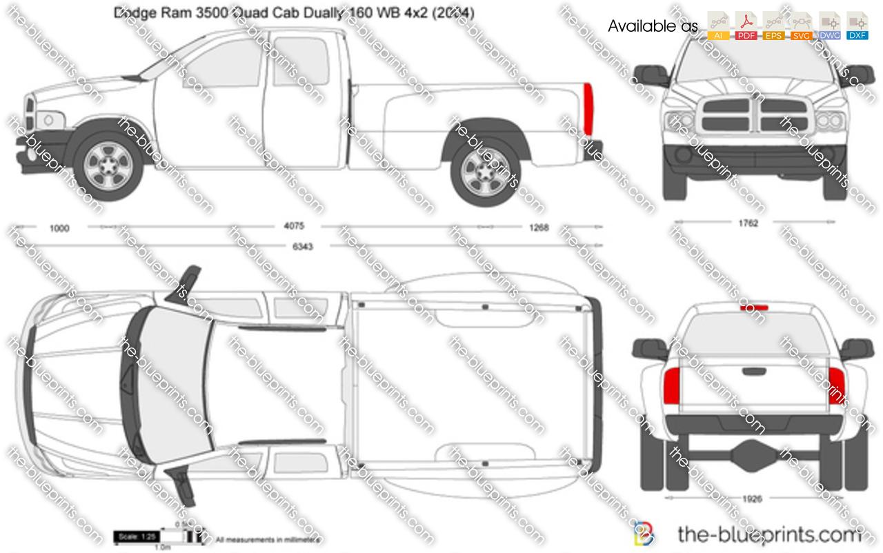 Dodge Ram Quad Cab Dually 160 Wb 4x2 Vector Drawing