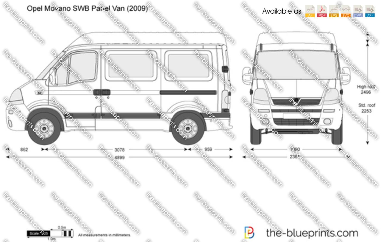 Opel Movano Swb Panel Van Vector Drawing