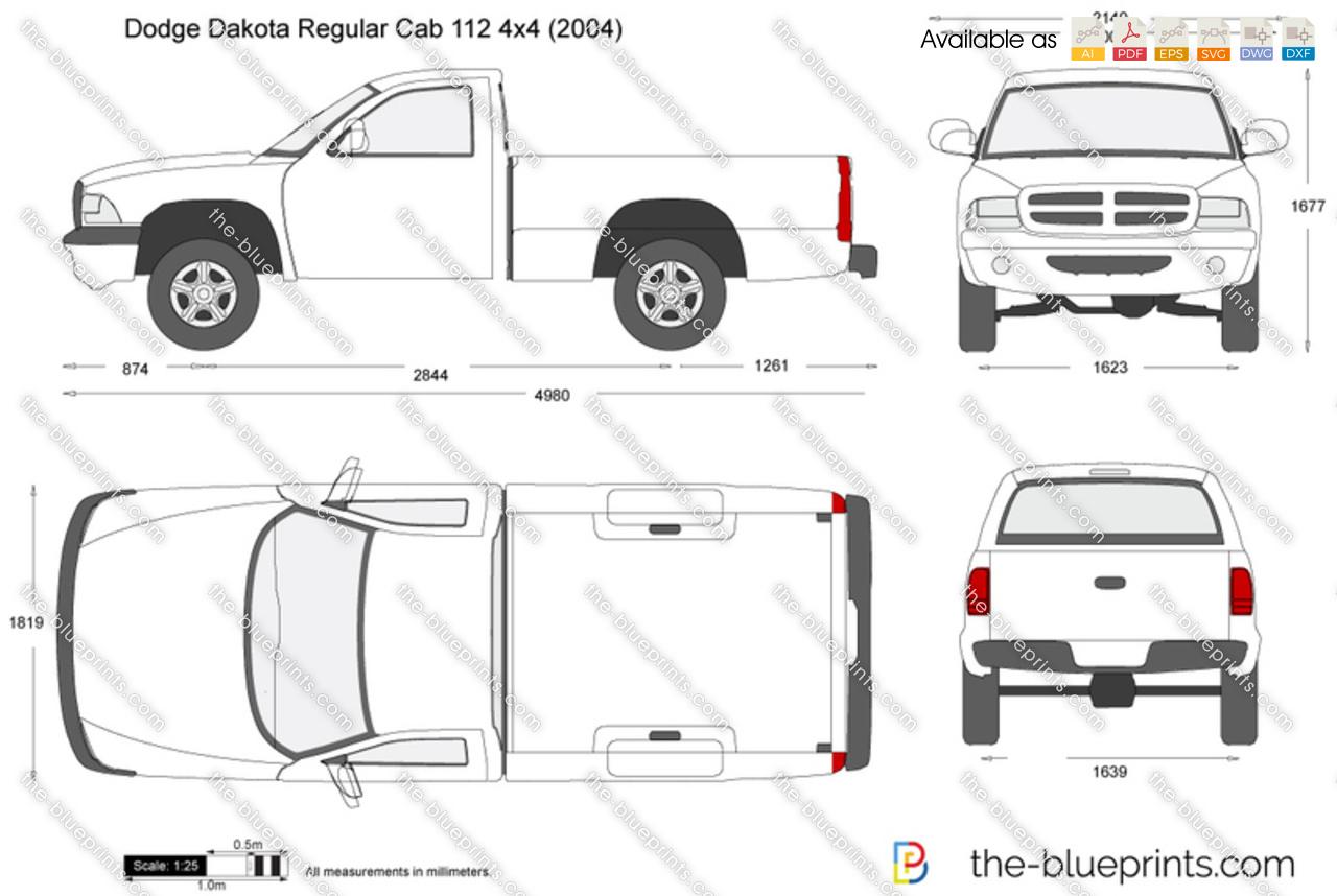 Dodge Dakota Regular Cab 112 4x4 Vector Drawing