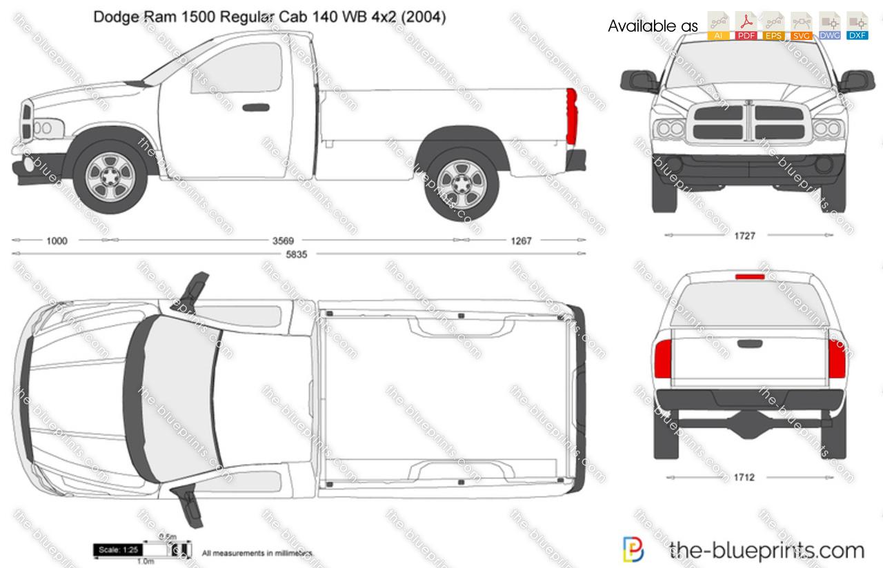 Dodge Ram Regular Cab 140 Wb 4x2 Vector Drawing