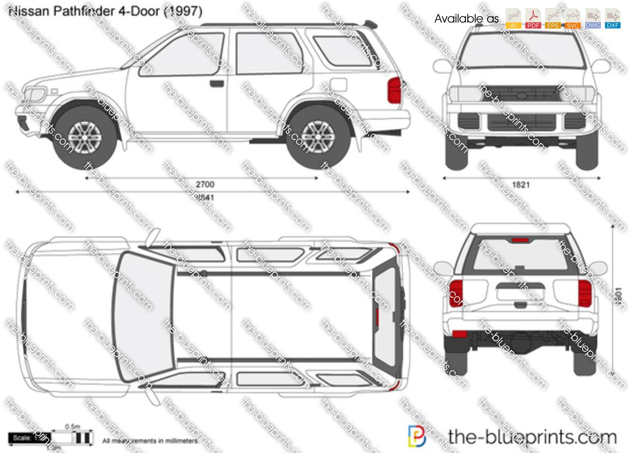 Nissan Pathfinder 4 Door Vector Drawing