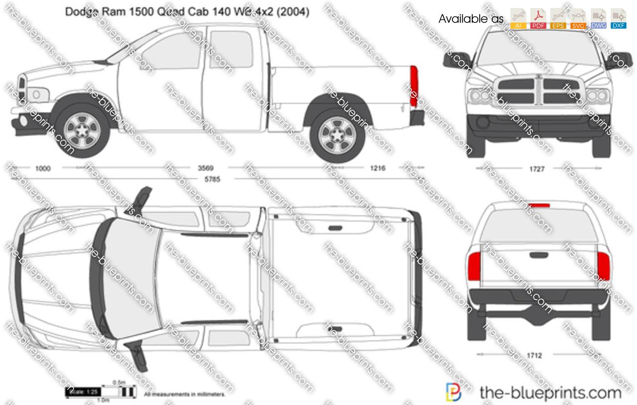 Dodge Ram Quad Cab 140 Wb 4x2 Vector Drawing