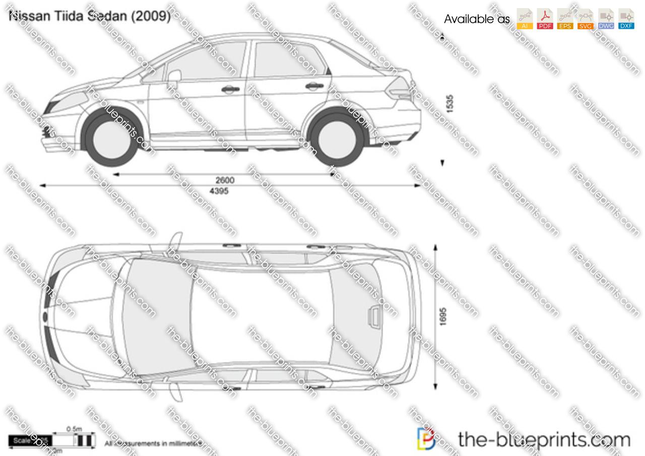 Nissan Tiida Sedan Vector Drawing