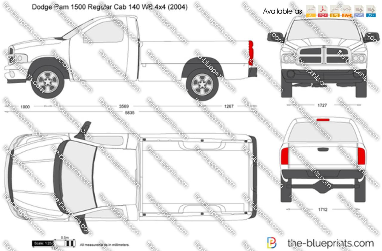 Dodge Ram Regular Cab 140 Wb 4x4 Vector Drawing