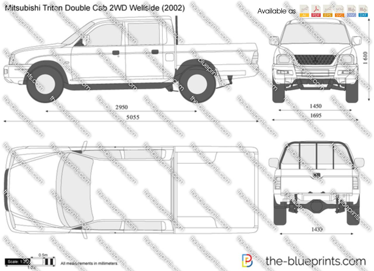 Mitsubishi Triton Double Cab 2wd Wellside Vector Drawing