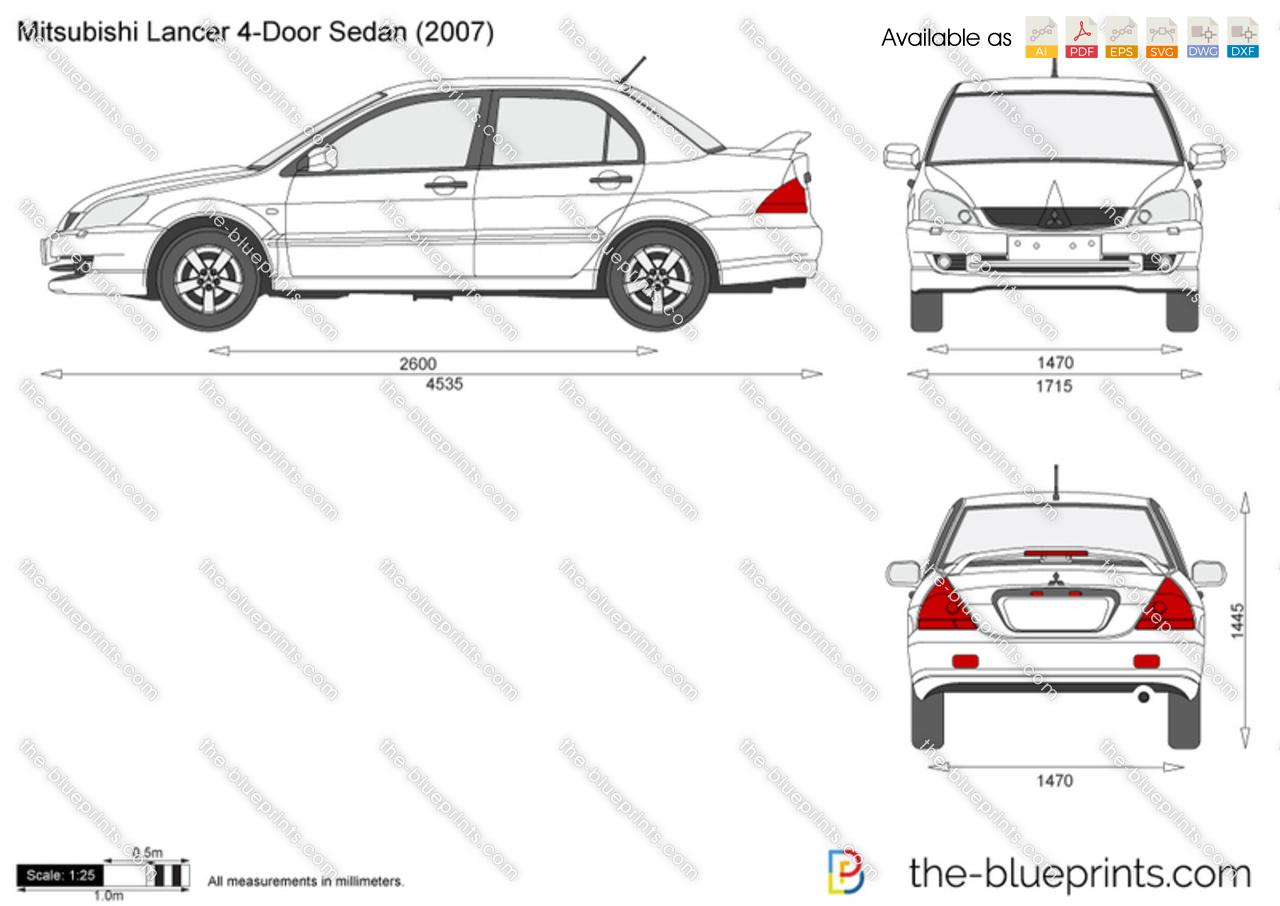 Mitsubishi Lancer 4 Door Sedan Vector Drawing