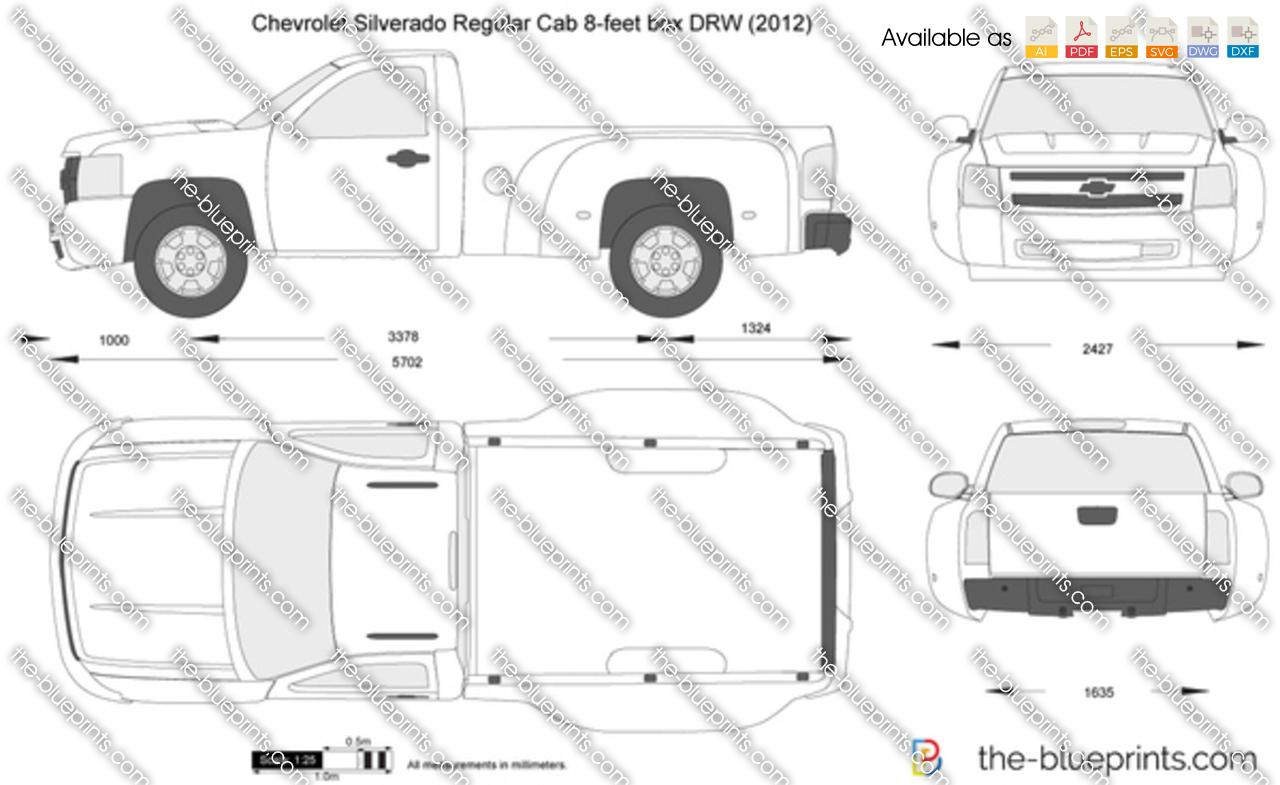 Chevrolet Silverado Regular Cab 8 Feet Box Drw Vector Drawing