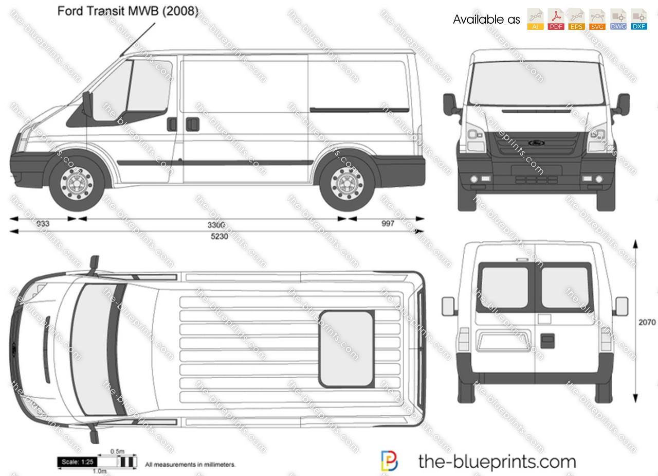 Ford Transit Mwb Vector Drawing