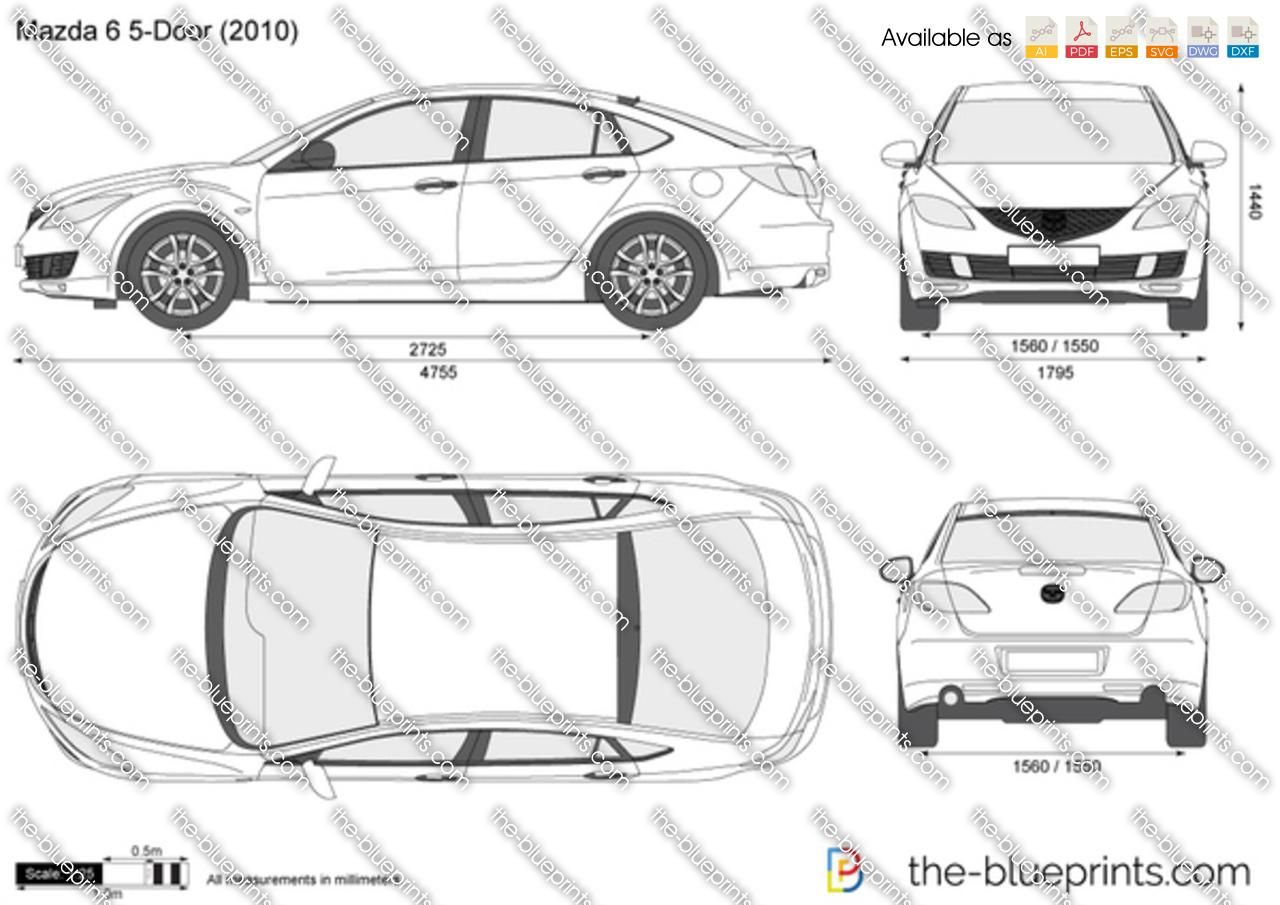 Mazda 6 5 Door Vector Drawing