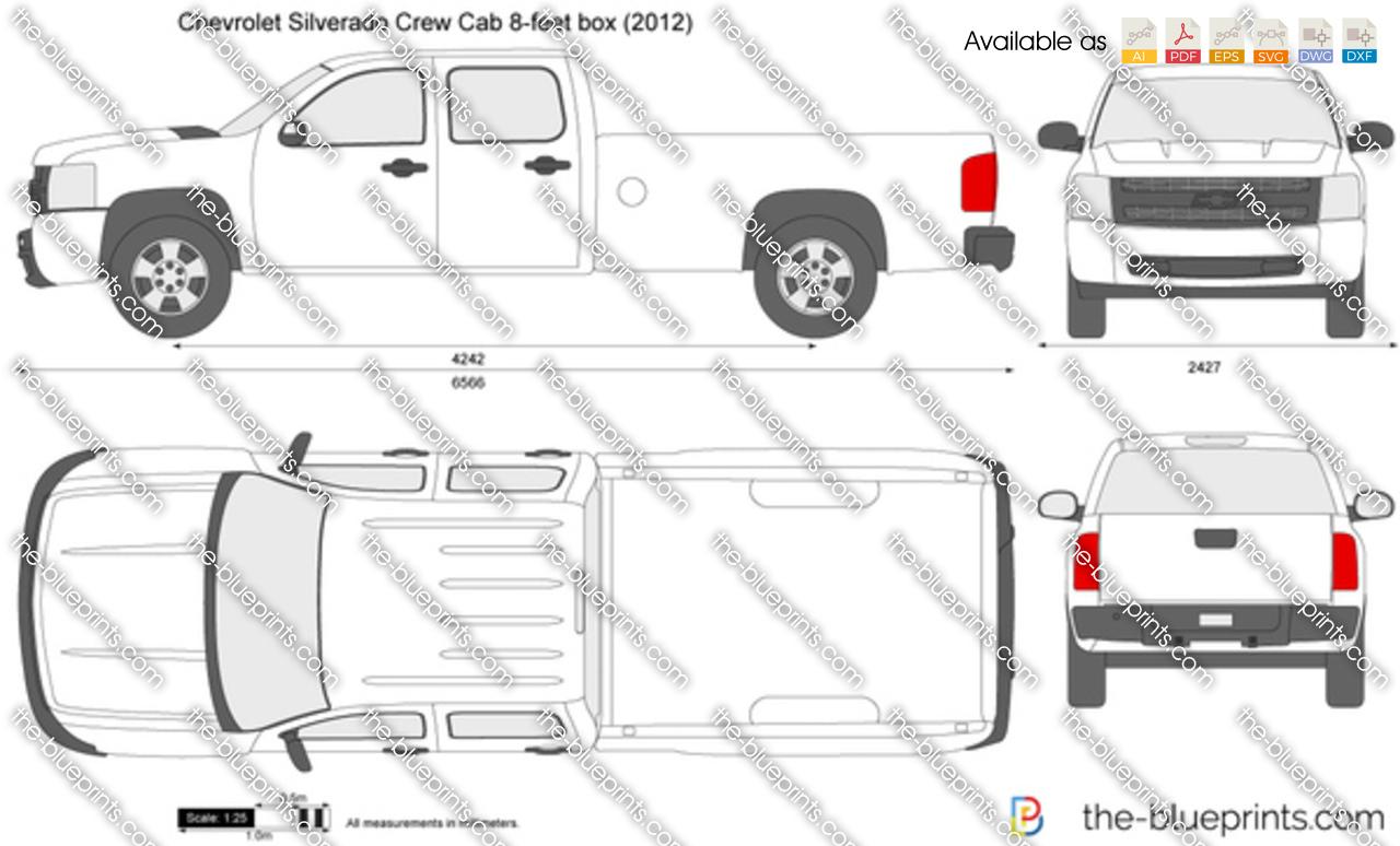 Chevrolet Silverado Crew Cab 8 Feet Box Vector Drawing