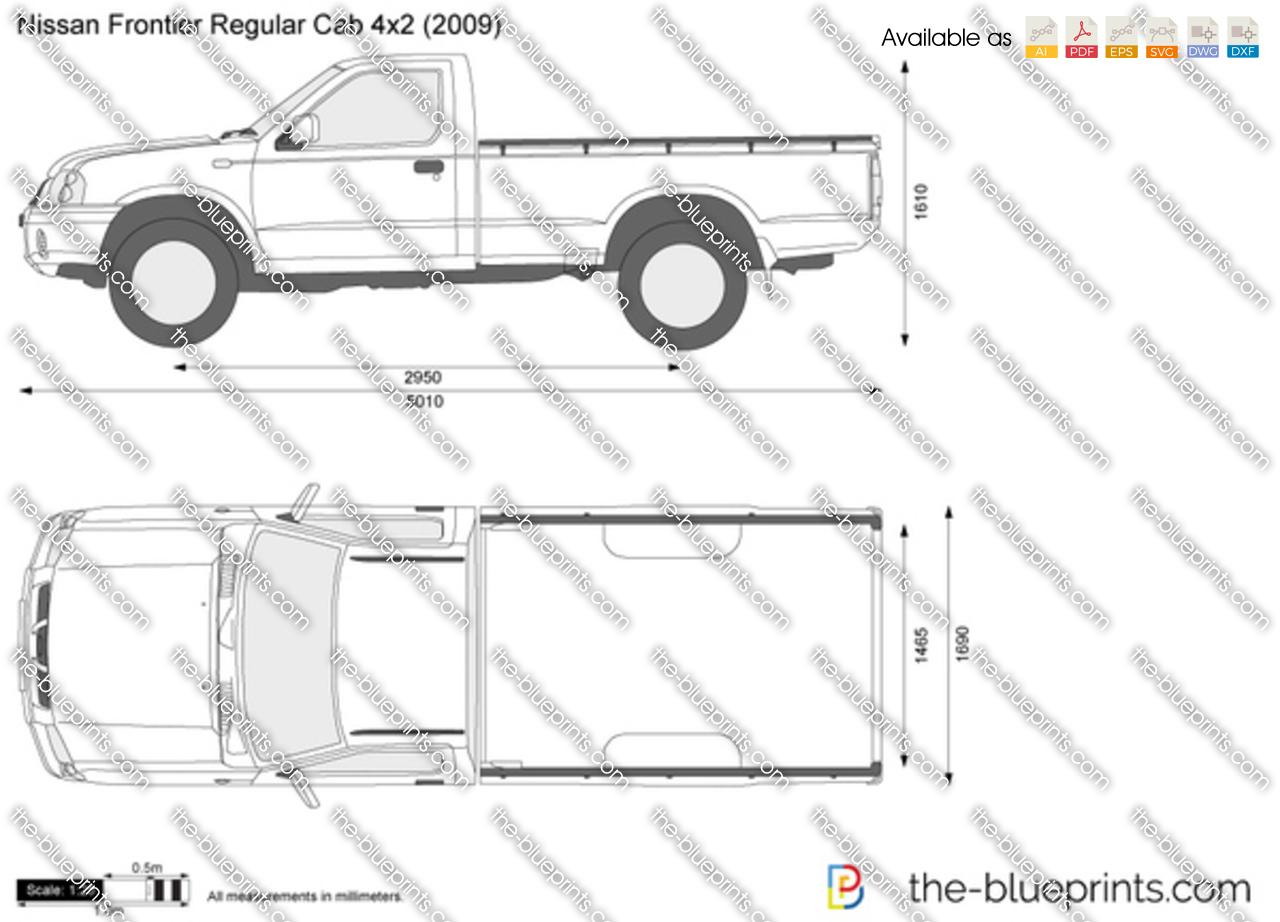 Nissan Frontier Regular Cab 4x2 Vector Drawing