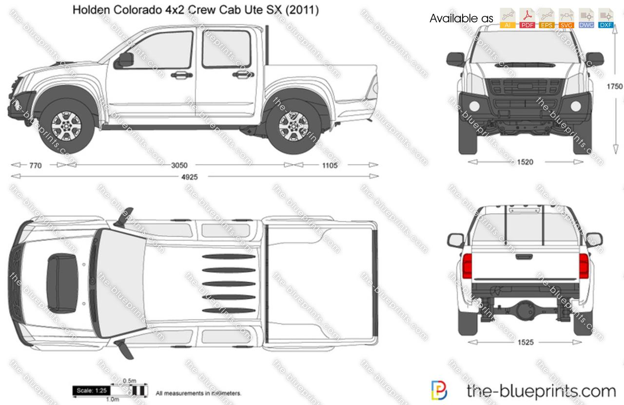 Holden Colorado 4x2 Crew Cab Ute Sx Vector Drawing