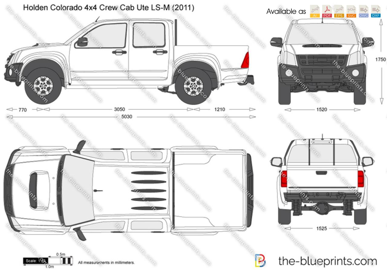 Holden Colorado 4x4 Crew Cab Ute Ls M Vector Drawing