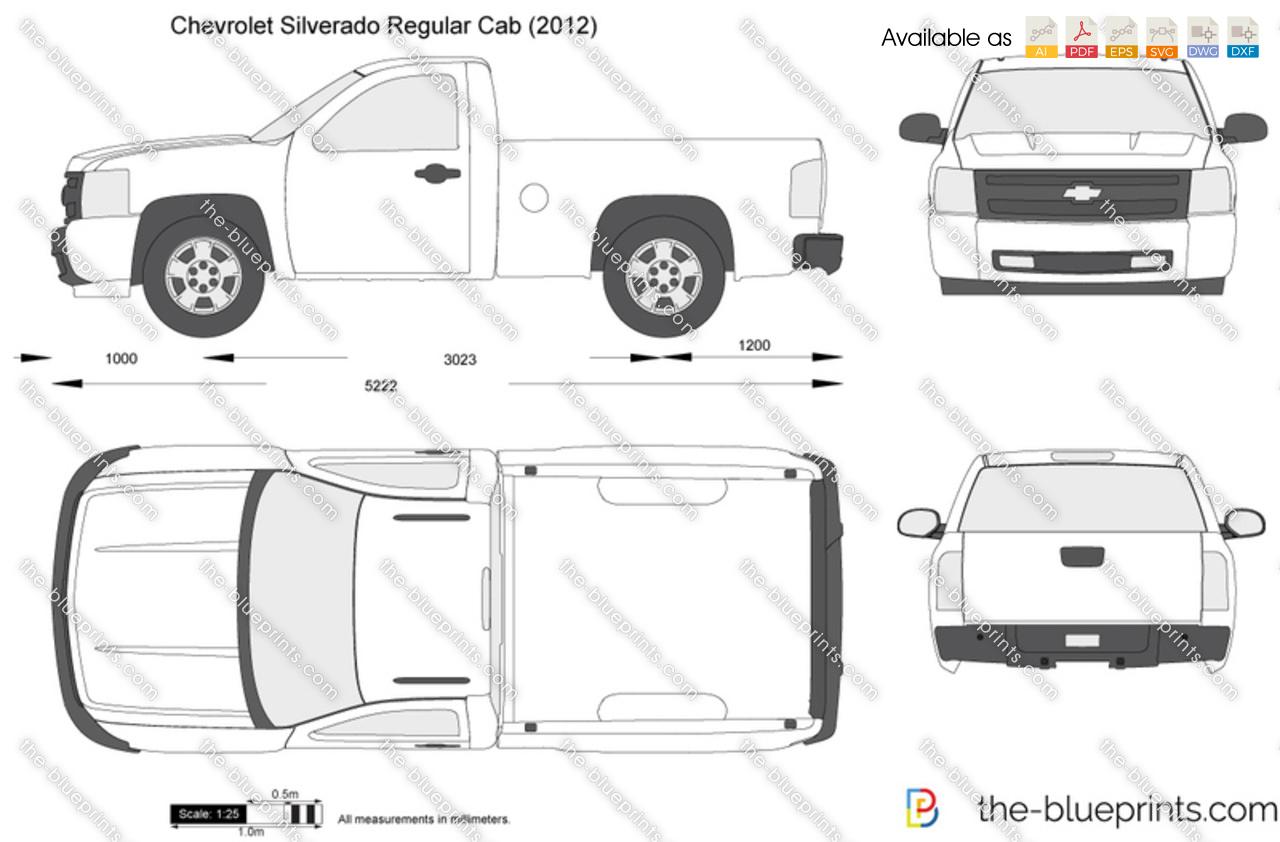 Chevrolet Silverado Regular Cab Vector Drawing